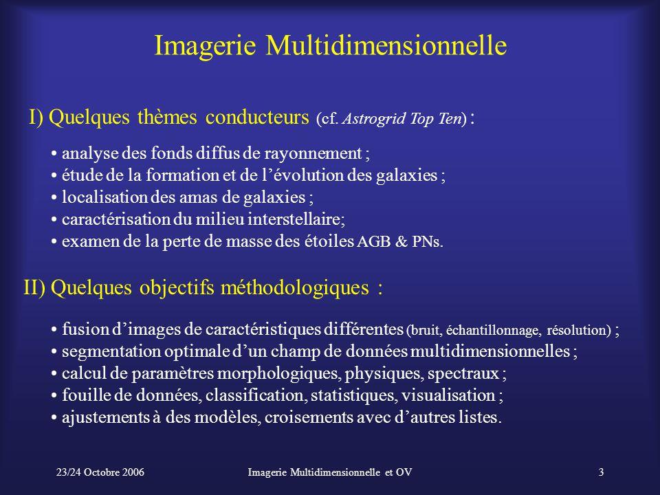 23/24 Octobre 2006Imagerie Multidimensionnelle et OV3 Imagerie Multidimensionnelle analyse des fonds diffus de rayonnement ; étude de la formation et de l'évolution des galaxies ; localisation des amas de galaxies ; caractérisation du milieu interstellaire; examen de la perte de masse des étoiles AGB & PNs.