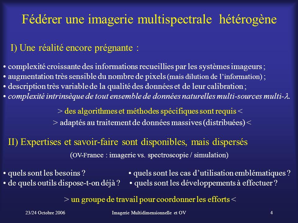 23/24 Octobre 2006Imagerie Multidimensionnelle et OV4 Fédérer une imagerie multispectrale hétérogène complexité croissante des informations recueillie