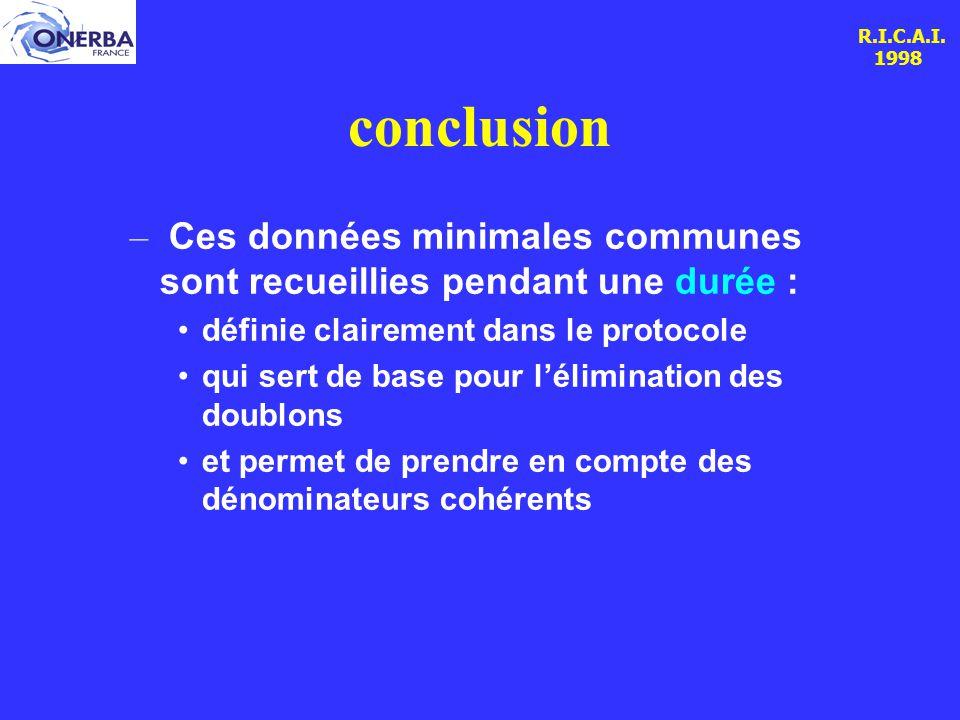 R.I.C.A.I. 1998 conclusion – Ces données minimales communes sont recueillies pendant une durée : définie clairement dans le protocole qui sert de base