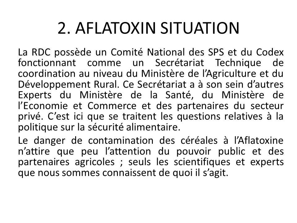 2. AFLATOXIN SITUATION La RDC possède un Comité National des SPS et du Codex fonctionnant comme un Secrétariat Technique de coordination au niveau du
