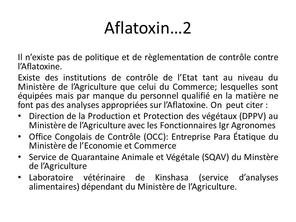 Aflatoxin…2 Il n'existe pas de politique et de règlementation de contrôle contre l'Aflatoxine. Existe des institutions de contrôle de l'Etat tant au n