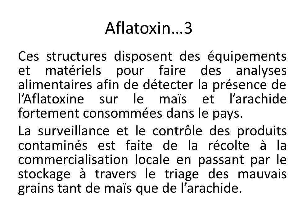 Aflatoxin…3 Ces structures disposent des équipements et matériels pour faire des analyses alimentaires afin de détecter la présence de l'Aflatoxine su