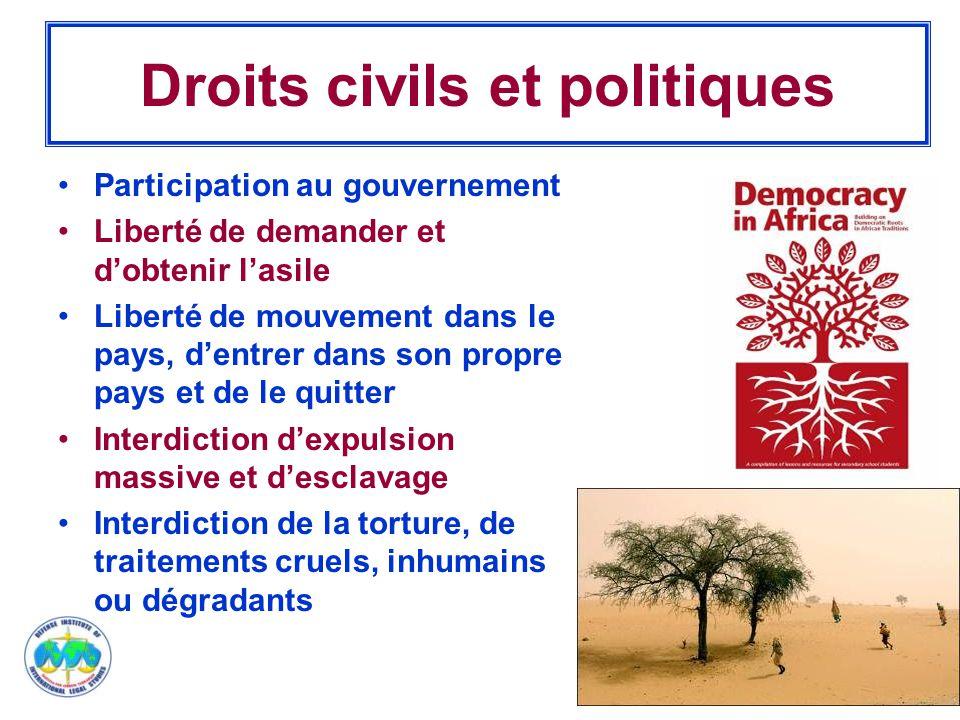 10 Droits civils et politiques Participation au gouvernement Liberté de demander et d'obtenir l'asile Liberté de mouvement dans le pays, d'entrer dans