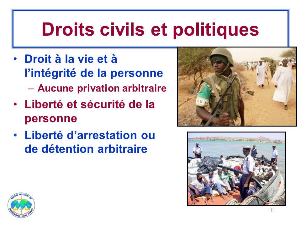 11 Droits civils et politiques Droit à la vie et à l'intégrité de la personne –Aucune privation arbitraire Liberté et sécurité de la personne Liberté
