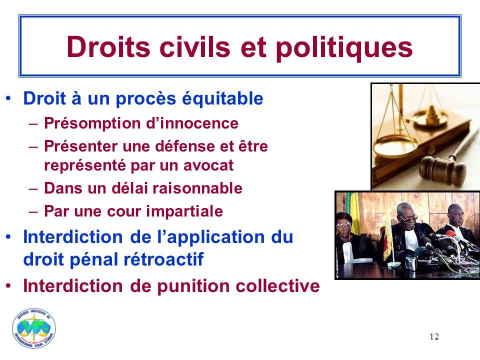 12 Droits civils et politiques Droit à un procès équitable –Présomption d'innocence –Présenter une défense et être représenté par un avocat –Dans un d