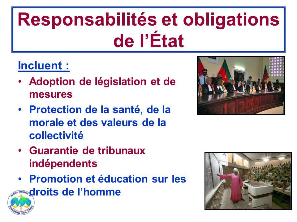 14 Responsabilités et obligations de l'État Incluent : Adoption de législation et de mesures Protection de la santé, de la morale et des valeurs de la collectivité Guarantie de tribunaux indépendents Promotion et éducation sur les droits de l'homme