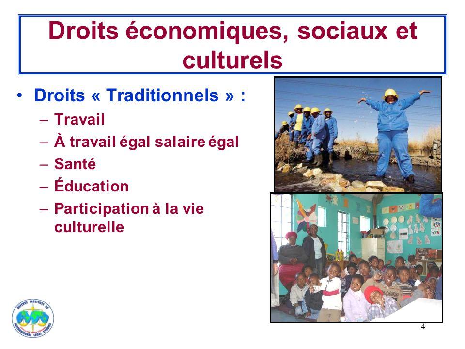 4 Droits économiques, sociaux et culturels Droits « Traditionnels » : –Travail –À travail égal salaire égal –Santé –Éducation –Participation à la vie culturelle