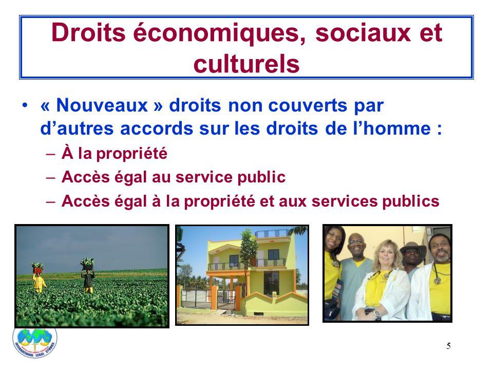 5 Droits économiques, sociaux et culturels « Nouveaux » droits non couverts par d'autres accords sur les droits de l'homme : –À la propriété –Accès égal au service public –Accès égal à la propriété et aux services publics