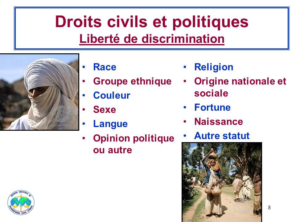 8 Droits civils et politiques Liberté de discrimination Race Groupe ethnique Couleur Sexe Langue Opinion politique ou autre Religion Origine nationale et sociale Fortune Naissance Autre statut