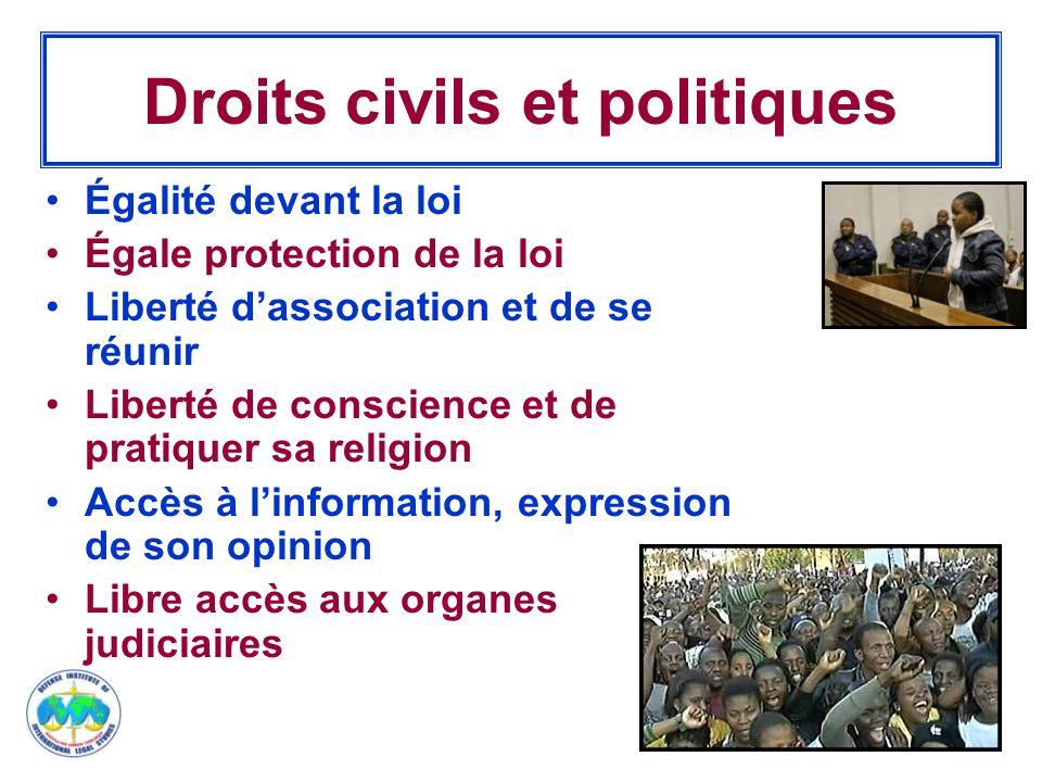 9 Droits civils et politiques Égalité devant la loi Égale protection de la loi Liberté d'association et de se réunir Liberté de conscience et de prati