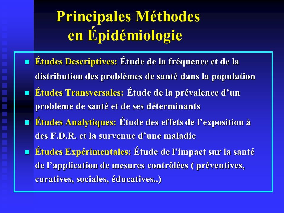 Épidémiologie descriptive (1) Objectifs: Objectifs: - Identifier les problèmes de santé dans une - Identifier les problèmes de santé dans une population et leur ampleur population et leur ampleur - Décrire leur répartition en fonction des - Décrire leur répartition en fonction des caractéristiques de personnes, de lieu et de temps.