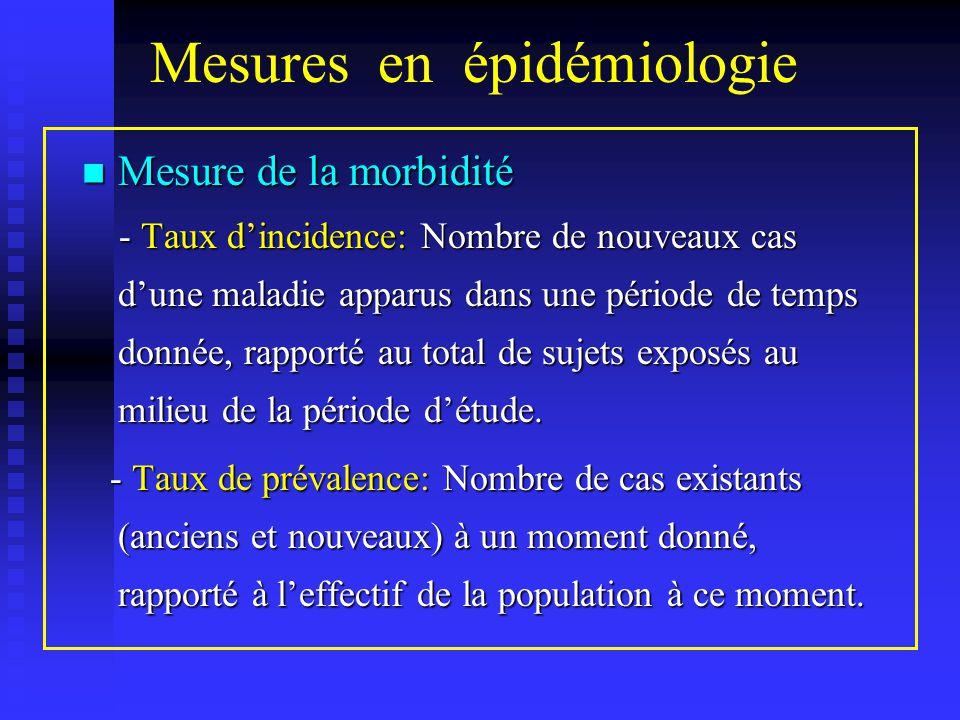 Mesures en épidémiologie Mortalité Mortalité - Taux brut de mortalité: Nbr.