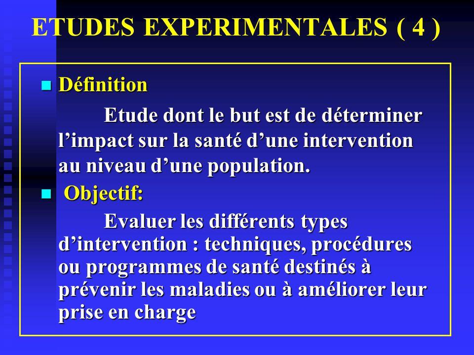 Etudes Expérimentales Méthodologie Etudes basées sur le consentement libre et éclairé des participants aux essais cliniques.
