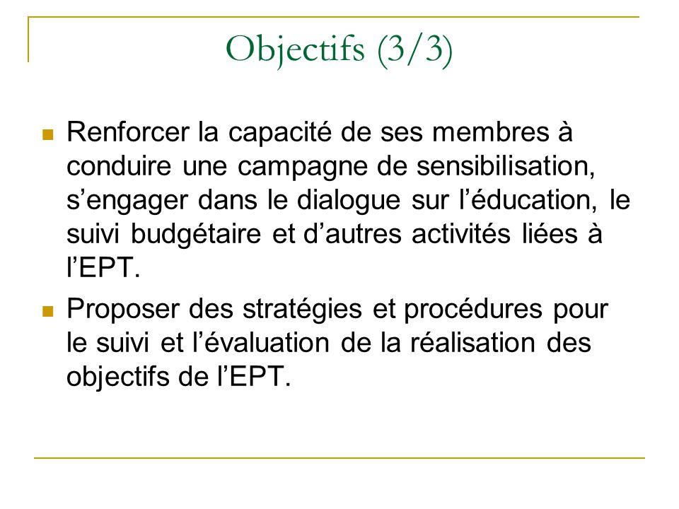 Objectifs (3/3) Renforcer la capacité de ses membres à conduire une campagne de sensibilisation, s'engager dans le dialogue sur l'éducation, le suivi budgétaire et d'autres activités liées à l'EPT.