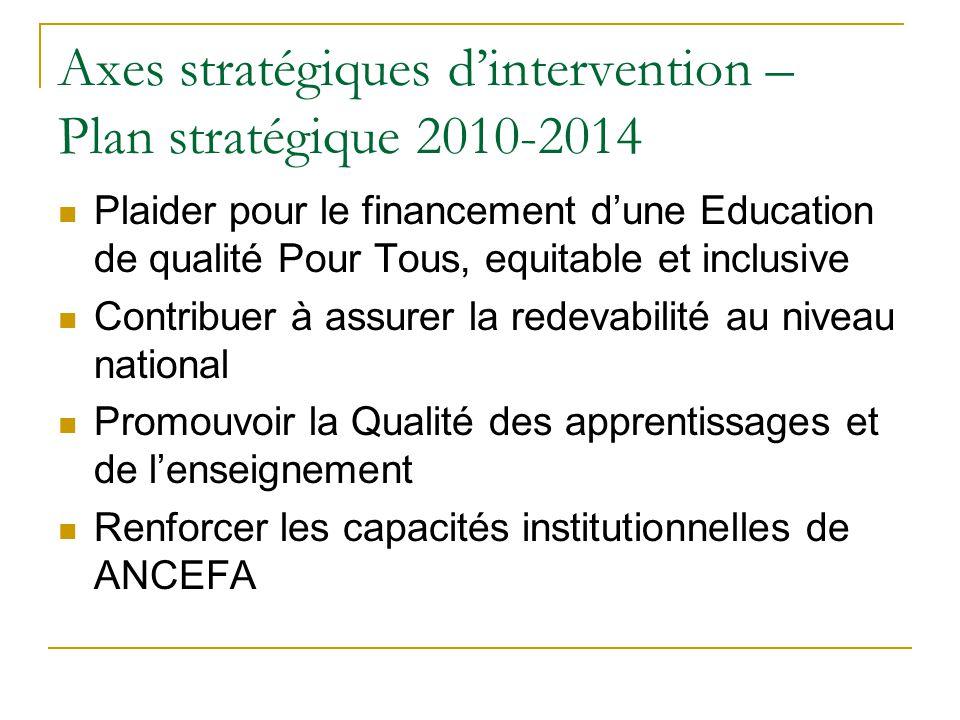 Axes stratégiques d'intervention – Plan stratégique 2010-2014 Plaider pour le financement d'une Education de qualité Pour Tous, equitable et inclusive Contribuer à assurer la redevabilité au niveau national Promouvoir la Qualité des apprentissages et de l'enseignement Renforcer les capacités institutionnelles de ANCEFA