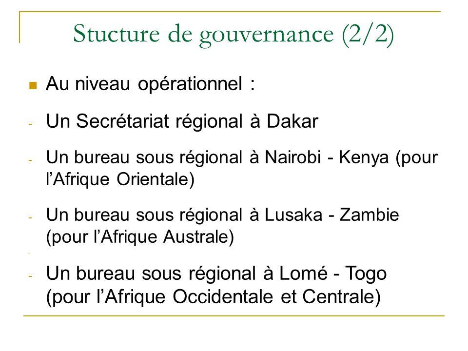 Stucture de gouvernance (2/2) Au niveau opérationnel : -U-Un Secrétariat régional à Dakar -U-Un bureau sous régional à Nairobi - Kenya (pour l'Afrique Orientale) -U-Un bureau sous régional à Lusaka - Zambie (pour l'Afrique Australe) -U-Un bureau sous régional à Lomé - Togo (pour l'Afrique Occidentale et Centrale)