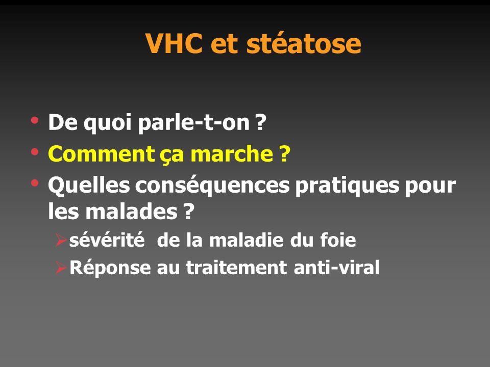 VHC et stéatose De quoi parle-t-on ? Comment ça marche ? Quelles conséquences pratiques pour les malades ?  sévérité de la maladie du foie  Réponse