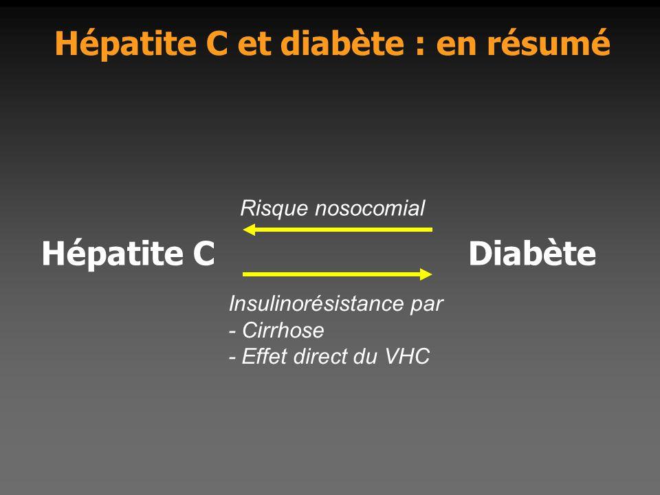 Hépatite C et diabète : en résumé Hépatite CDiabète Risque nosocomial Insulinorésistance par - Cirrhose - Effet direct du VHC