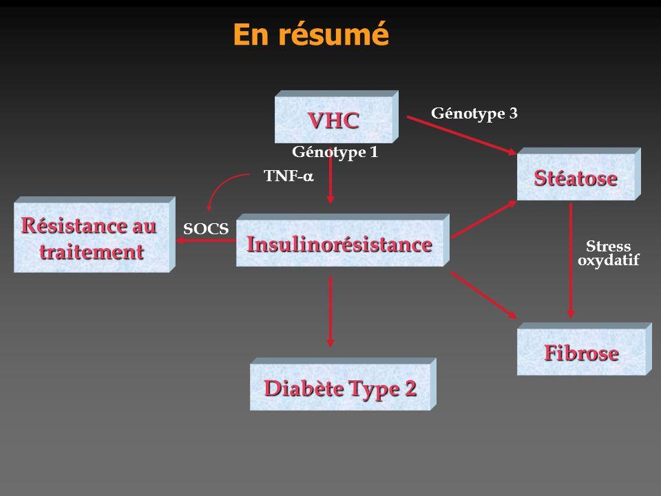 Stéatose Diabète Type 2 Stress oxydatif En résumé Insulinorésistance VHC Fibrose Résistance au traitement Génotype 3 TNF-  SOCS Génotype 1