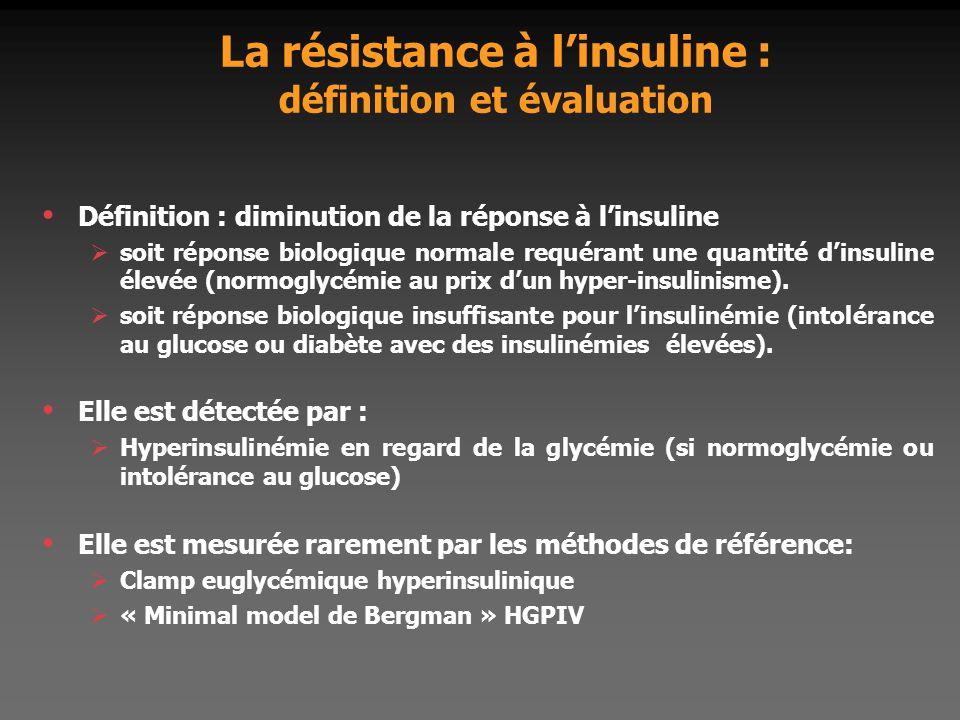 La résistance à l'insuline : définition et évaluation Définition : diminution de la réponse à l'insuline  soit réponse biologique normale requérant u