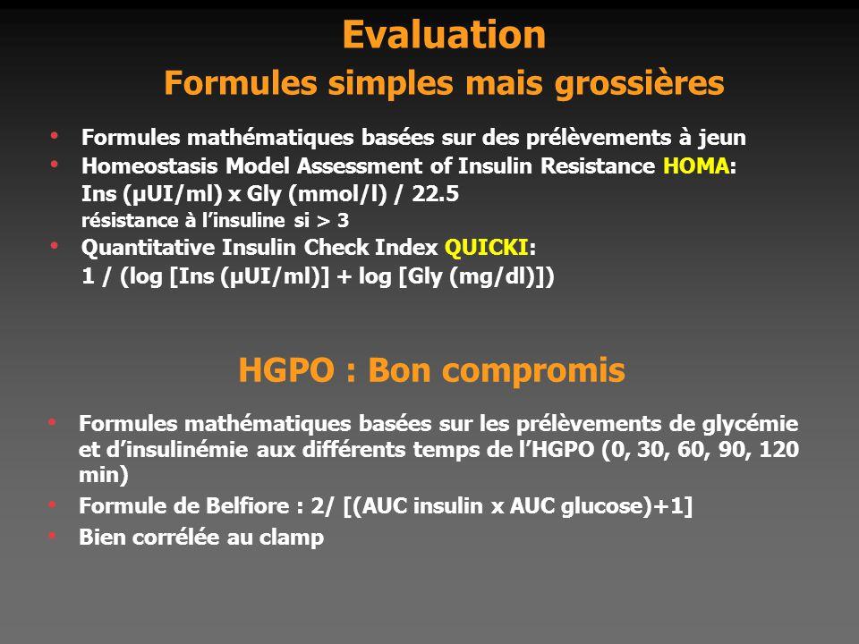 Evaluation Formules simples mais grossières Formules mathématiques basées sur des prélèvements à jeun Homeostasis Model Assessment of Insulin Resistan