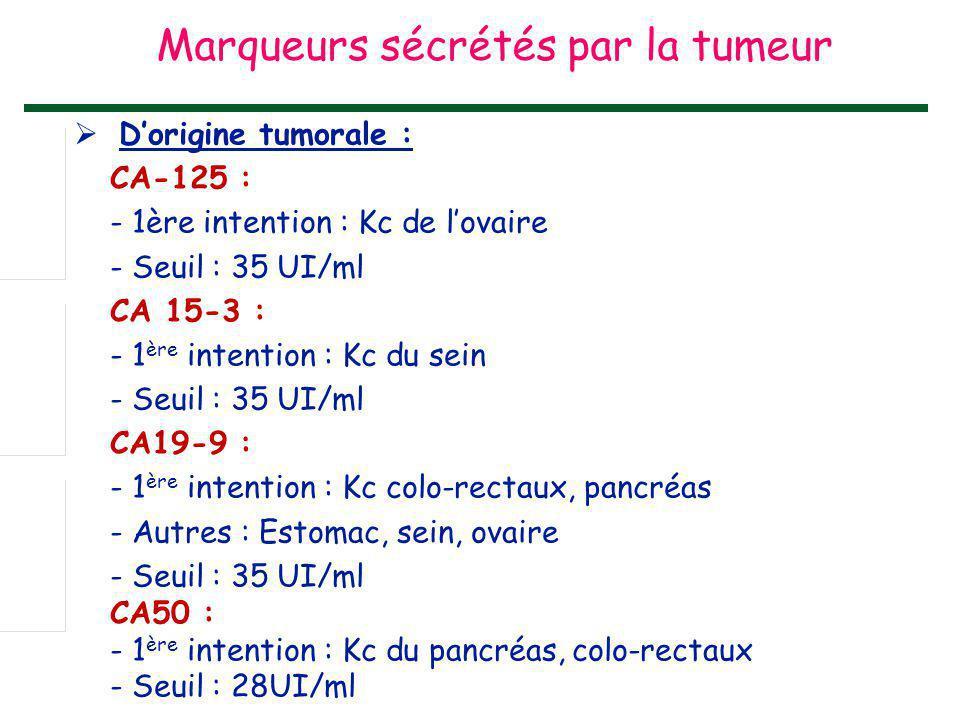  D'origine tumorale : CA-125 : - 1ère intention : Kc de l'ovaire - Seuil : 35 UI/ml CA 15-3 : - 1 ère intention : Kc du sein - Seuil : 35 UI/ml CA19-