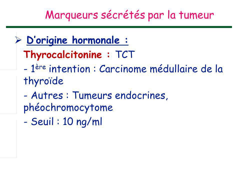  D'origine hormonale : Thyrocalcitonine : TCT - 1 ère intention : Carcinome médullaire de la thyroïde - Autres : Tumeurs endocrines, phéochromocytome