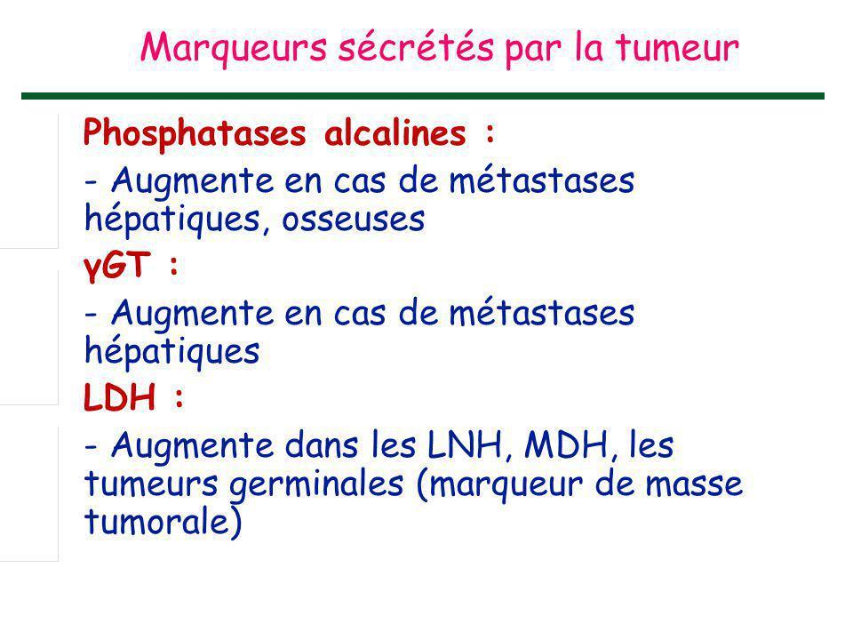 Phosphatases alcalines : - Augmente en cas de métastases hépatiques, osseuses γGT : - Augmente en cas de métastases hépatiques LDH : - Augmente dans l