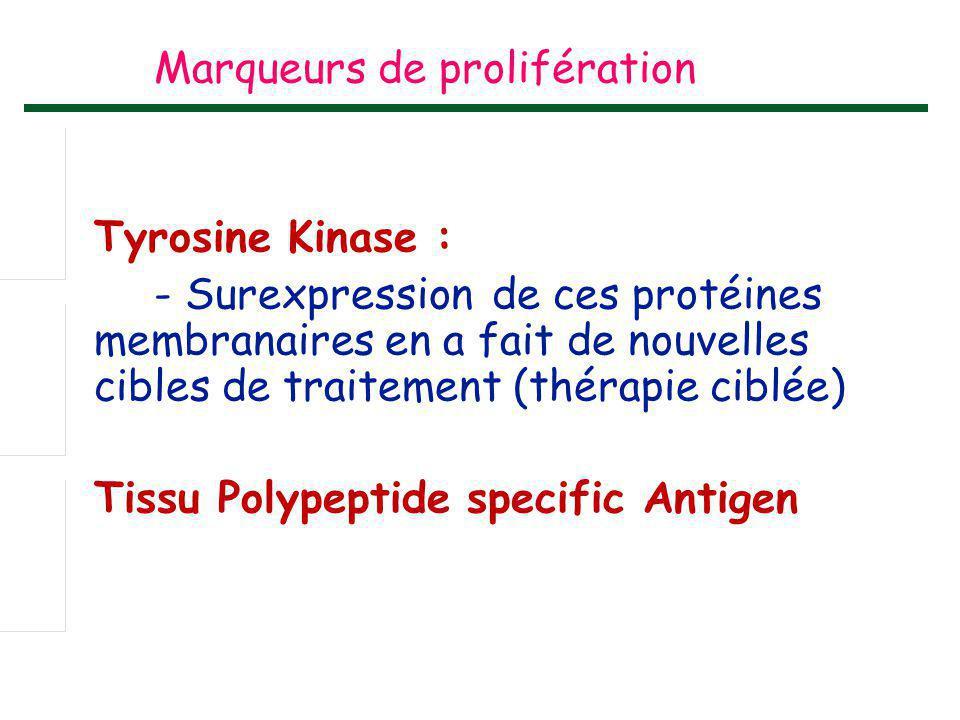 Marqueurs de prolifération Tyrosine Kinase : - Surexpression de ces protéines membranaires en a fait de nouvelles cibles de traitement (thérapie ciblé