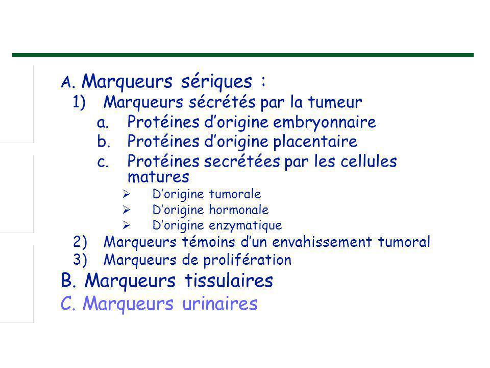 A. Marqueurs sériques : 1)Marqueurs sécrétés par la tumeur a.Protéines d'origine embryonnaire b.Protéines d'origine placentaire c.Protéines secrétées