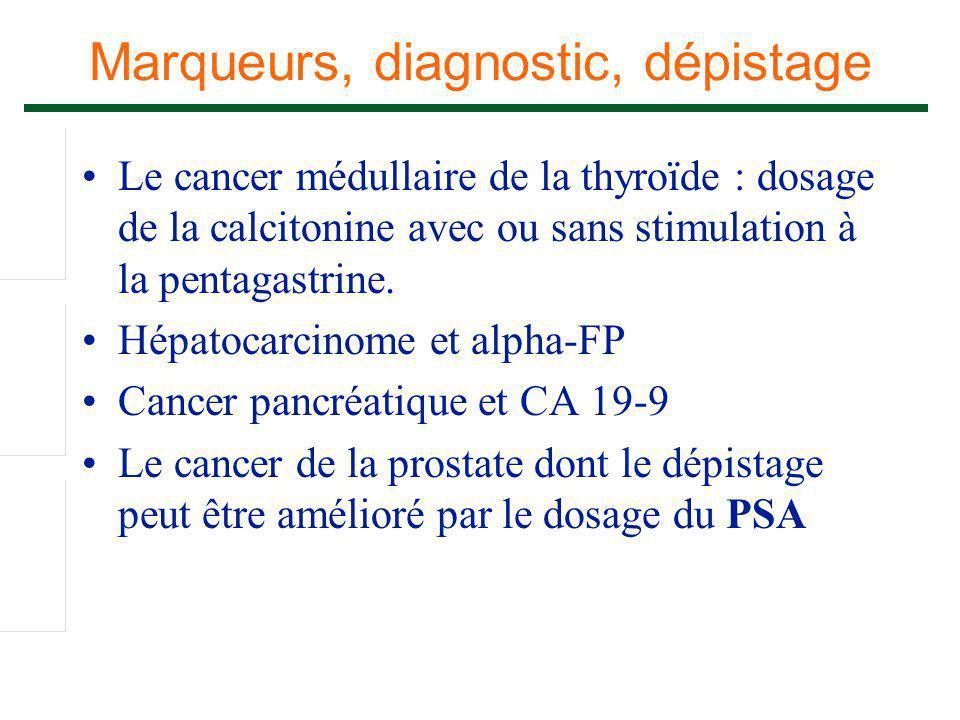 Marqueurs, diagnostic, dépistage Le cancer médullaire de la thyroïde : dosage de la calcitonine avec ou sans stimulation à la pentagastrine. Hépatocar