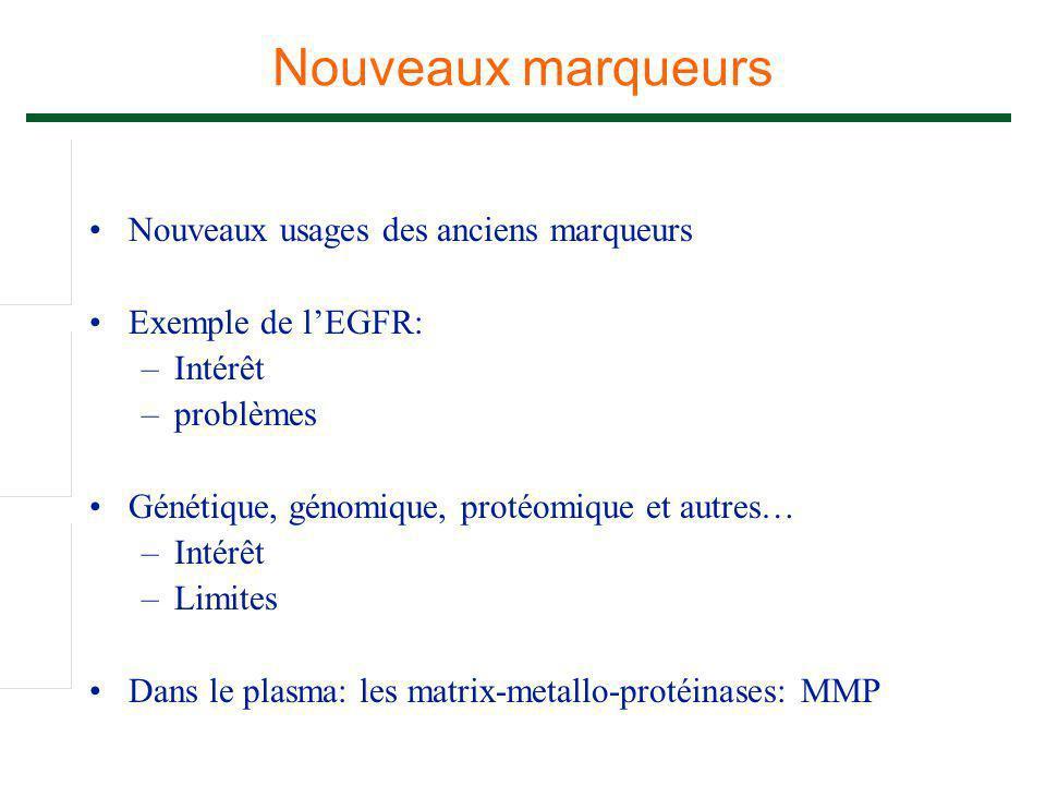 Nouveaux usages des anciens marqueurs Exemple de l'EGFR: –Intérêt –problèmes Génétique, génomique, protéomique et autres… –Intérêt –Limites Dans le pl