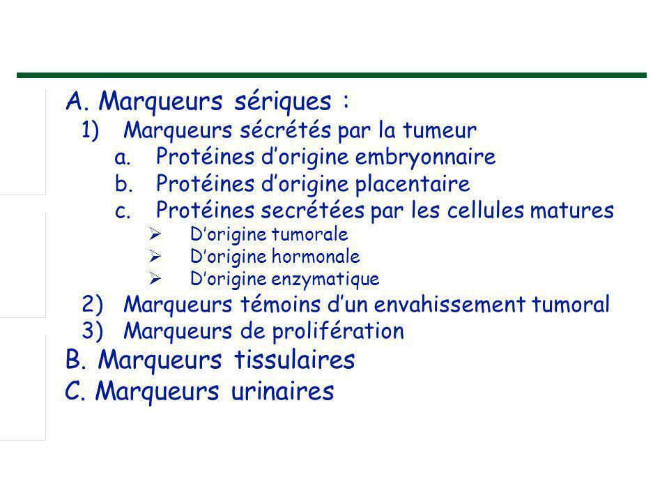Marqueurs sécrétés par la tumeur a.Protéines d'origine embryonnaire : α.Foeto-protéine : - En 1 ère intention : hépatocarcinome, kc du testicule - Augmentation non spécifique : pathologie bénigne du foie - Seuil : 5,5 ng/ml Antigène carcino-embryonnaire ACE : - 1 ère intention : Kc colorectaux, estomac, sein, ovaire, poumon - Augmentation non spécifique : pathologie bénigne digestive, pulmonaire, intestinale, cirrhose, tabagisme, insuffisance rénale - Seuil : 10ng/ml