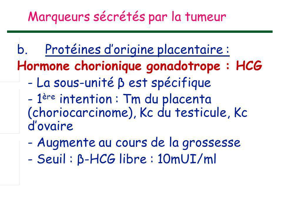 Marqueurs sécrétés par la tumeur b.Protéines d'origine placentaire : Hormone chorionique gonadotrope : HCG - La sous-unité β est spécifique - 1 ère in