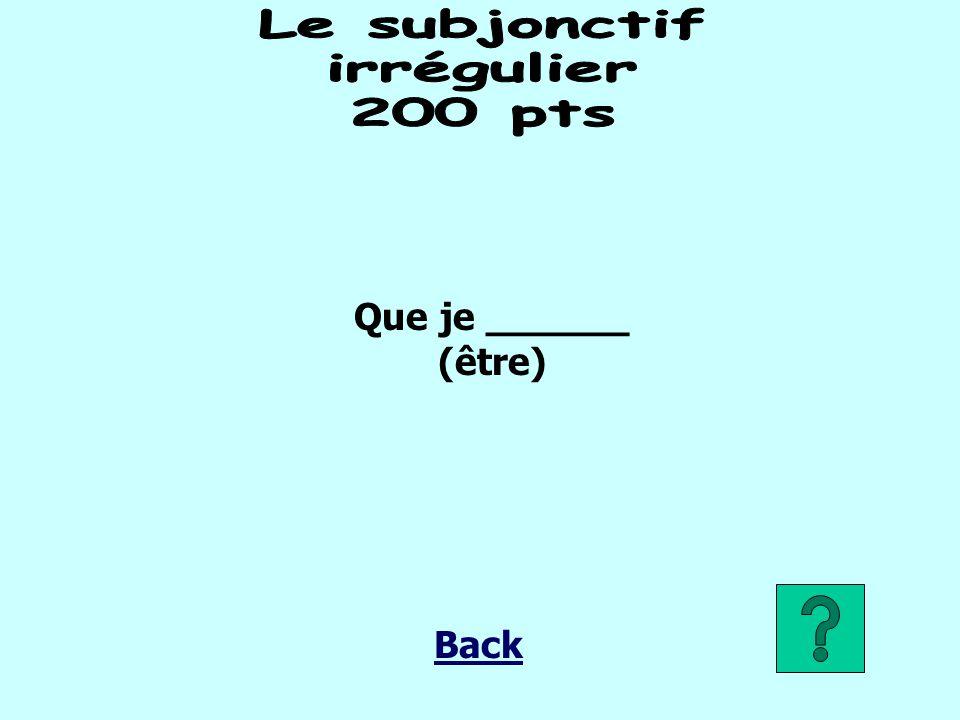 Que je ______ (être) Back