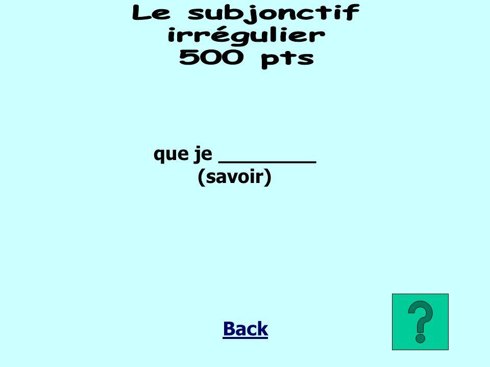 que je ________ (savoir) Back