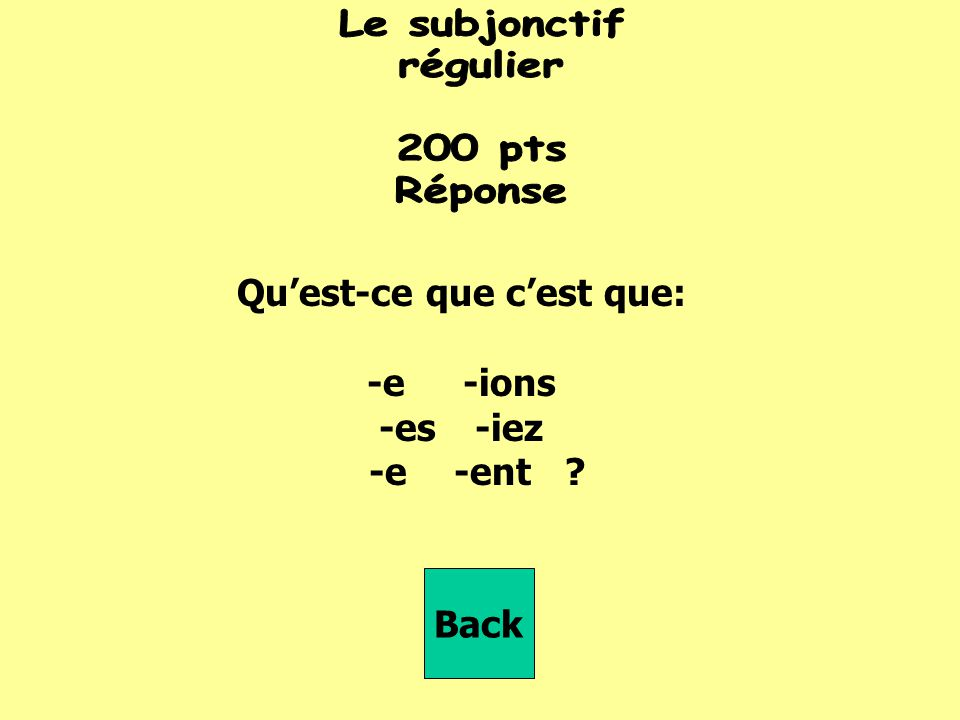 que tu ______ (avoir) Back