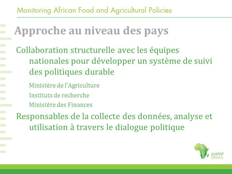 Approche au niveau des pays Collaboration structurelle avec les équipes nationales pour développer un système de suivi des politiques durable Ministèr