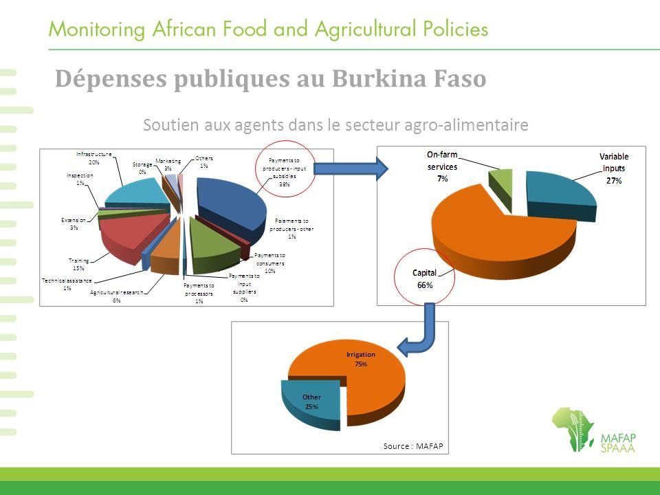 Soutien aux agents dans le secteur agro-alimentaire Dépenses publiques au Burkina Faso Source : MAFAP