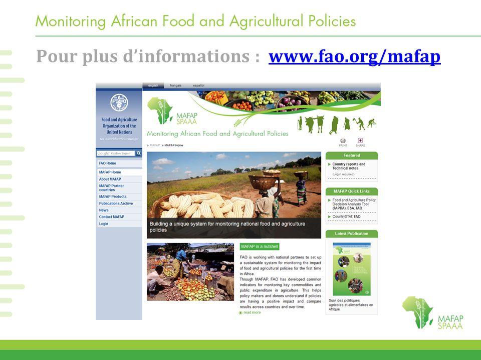 Pour plus d'informations : www.fao.org/mafap