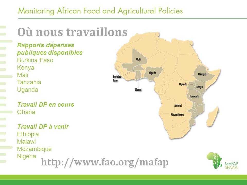 Où nous travaillons http://www.fao.org/mafap Rapports dépenses publiques disponibles Burkina Faso Kenya Mali Tanzania Uganda Travail DP en cours Ghana Travail DP à venir Ethiopia Malawi Mozambique Nigeria
