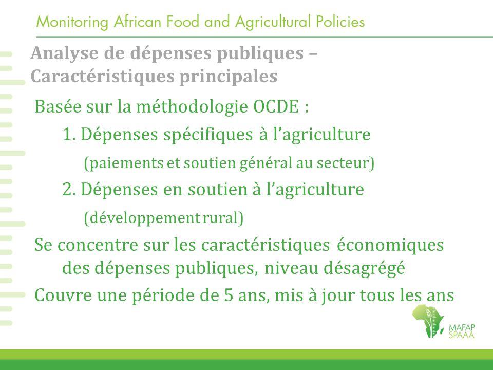 Analyse de dépenses publiques – Caractéristiques principales Basée sur la méthodologie OCDE : 1. Dépenses spécifiques à l'agriculture (paiements et so