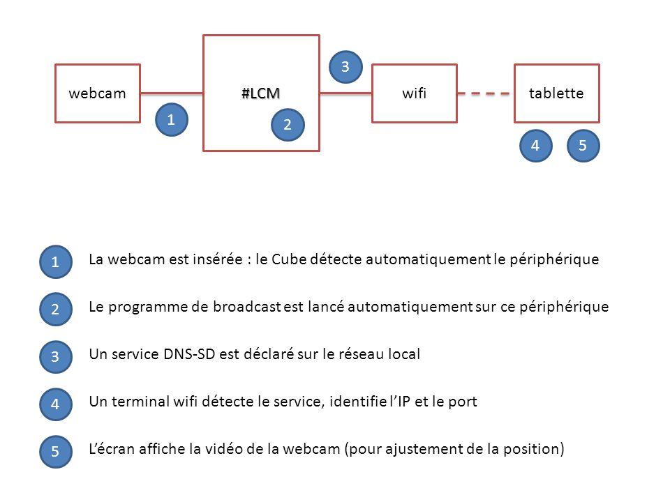 #LCM webcamwifi tablette 1 2 3 45 1 2 3 4 5 La webcam est insérée : le Cube détecte automatiquement le périphérique Le programme de broadcast est lanc