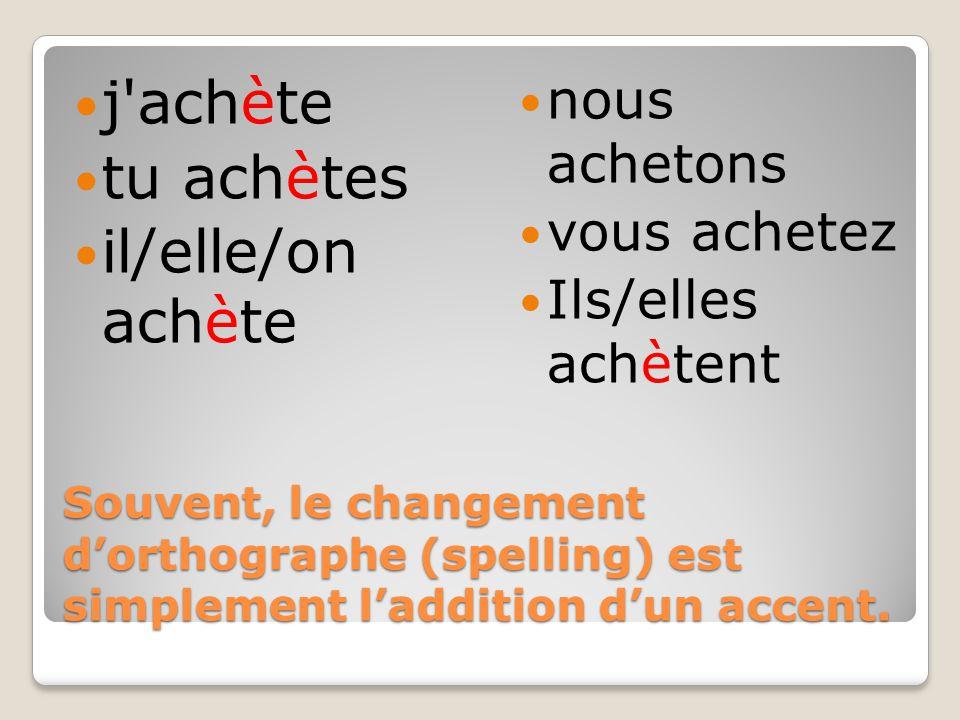 Souvent, le changement d'orthographe (spelling) est simplement l'addition d'un accent.
