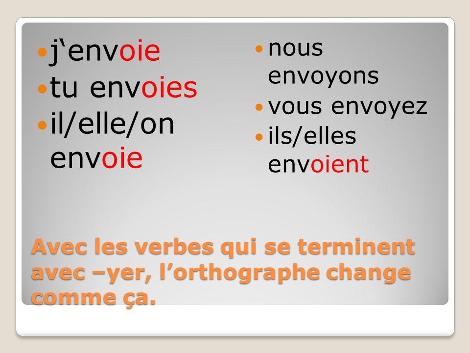 Avec les verbes qui se terminent avec –yer, l'orthographe change comme ça.