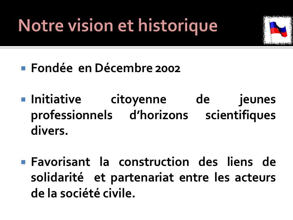  Fondée en Décembre 2002  Initiative citoyenne de jeunes professionnels d'horizons scientifiques divers.