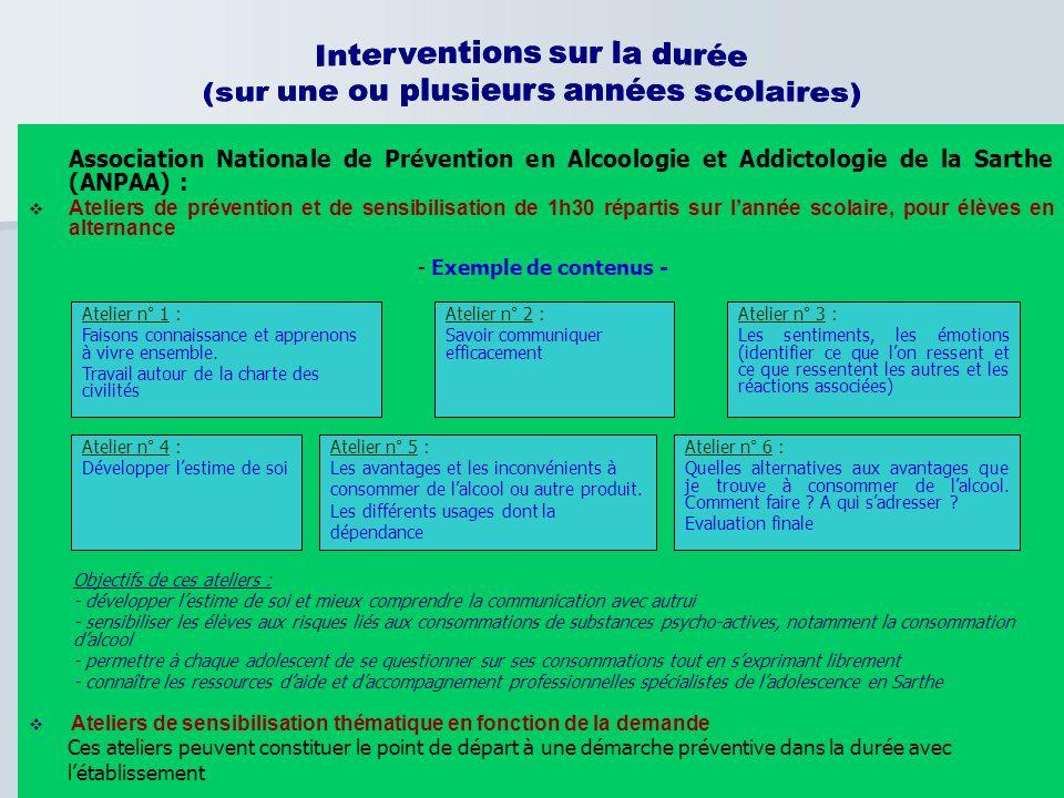 Association Nationale de Prévention en Alcoologie et Addictologie de la Sarthe (ANPAA) :  Ateliers de prévention et de sensibilisation de 1h30 répart