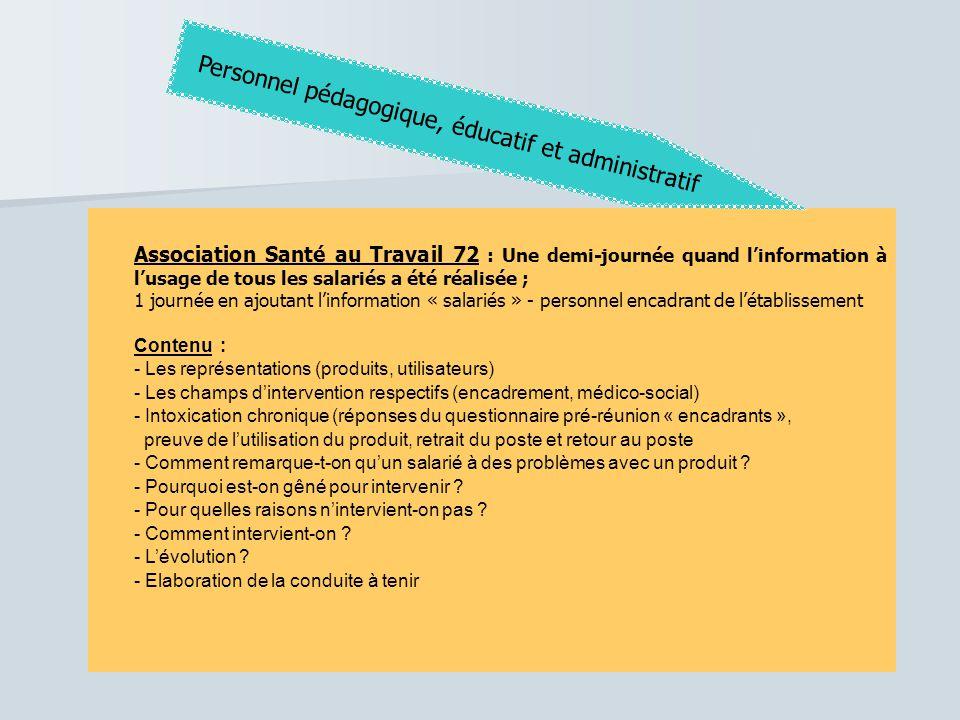 Association Santé au Travail 72 : Une demi-journée quand l'information à l'usage de tous les salariés a été réalisée ; 1 journée en ajoutant l'informa