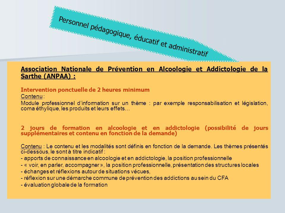 Association Nationale de Prévention en Alcoologie et Addictologie de la Sarthe (ANPAA) : Intervention ponctuelle de 2 heures minimum Contenu : Module