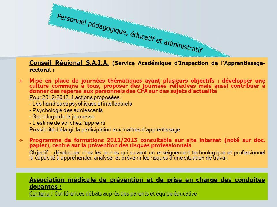 Conseil Régional S.A.I.A. (Service Académique d'Inspection de l'Apprentissage- rectorat :  Mise en place de journées thématiques ayant plusieurs obje